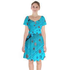 Decorative Dots Pattern Short Sleeve Bardot Dress