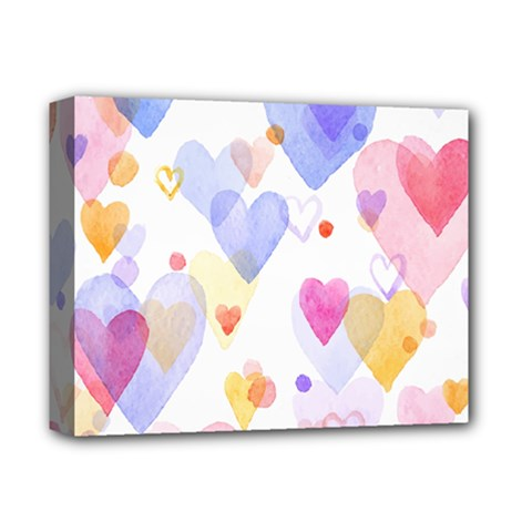 Watercolor cute hearts background Deluxe Canvas 14  x 11
