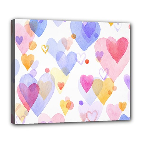Watercolor cute hearts background Deluxe Canvas 24  x 20