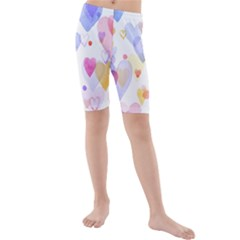Watercolor cute hearts background Kids  Mid Length Swim Shorts