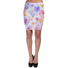 Watercolor cute hearts background Bodycon Skirt