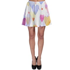 Watercolor cute hearts background Skater Skirt