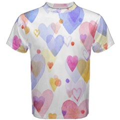 Watercolor cute hearts background Men s Cotton Tee