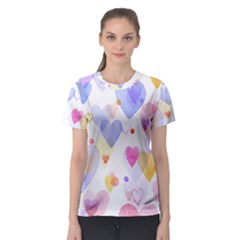 Watercolor cute hearts background Women s Sport Mesh Tee
