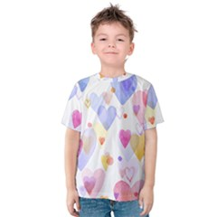 Watercolor cute hearts background Kids  Cotton Tee