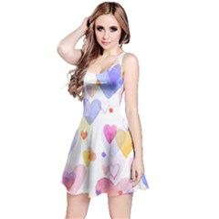 Watercolor cute hearts background Reversible Sleeveless Dress