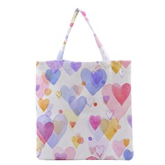 Watercolor cute hearts background Grocery Tote Bag