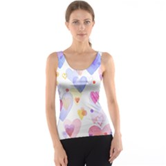 Watercolor cute hearts background Tank Top