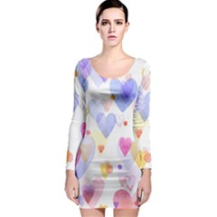 Watercolor cute hearts background Long Sleeve Bodycon Dress