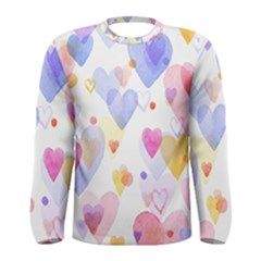 Watercolor cute hearts background Men s Long Sleeve Tee