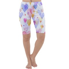 Watercolor cute hearts background Cropped Leggings