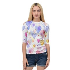 Watercolor cute hearts background Quarter Sleeve Tee