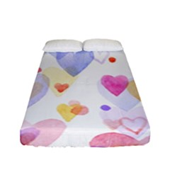 Watercolor cute hearts background Fitted Sheet (Full/ Double Size)