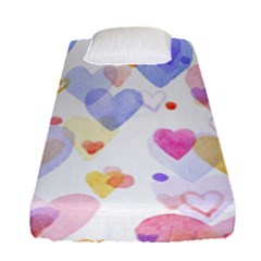 Watercolor cute hearts background Fitted Sheet (Single Size)