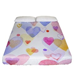 Watercolor cute hearts background Fitted Sheet (Queen Size)