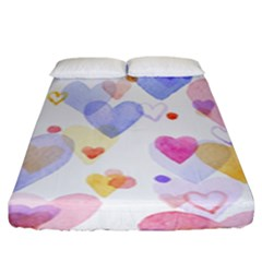 Watercolor cute hearts background Fitted Sheet (King Size)
