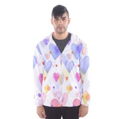Watercolor cute hearts background Hooded Wind Breaker (Men)