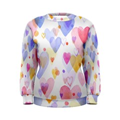 Watercolor cute hearts background Women s Sweatshirt