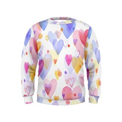 Watercolor cute hearts background Kids  Sweatshirt