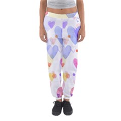Watercolor cute hearts background Women s Jogger Sweatpants