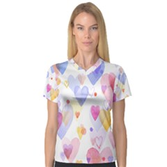 Watercolor cute hearts background Women s V-Neck Sport Mesh Tee