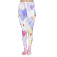 Watercolor cute hearts background Women s Tights