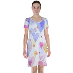 Watercolor cute hearts background Short Sleeve Nightdress