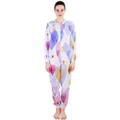 Watercolor cute hearts background OnePiece Jumpsuit (Ladies)