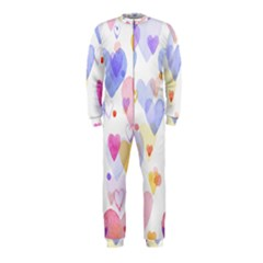 Watercolor cute hearts background OnePiece Jumpsuit (Kids)