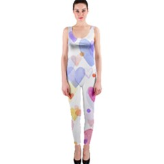 Watercolor cute hearts background OnePiece Catsuit