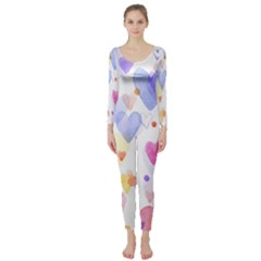 Watercolor cute hearts background Long Sleeve Catsuit