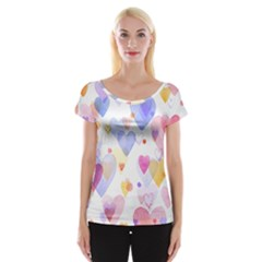Watercolor cute hearts background Women s Cap Sleeve Top