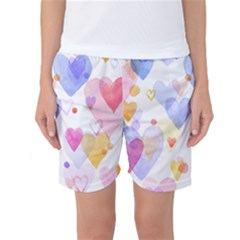 Watercolor cute hearts background Women s Basketball Shorts