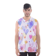 Watercolor cute hearts background Men s Basketball Tank Top