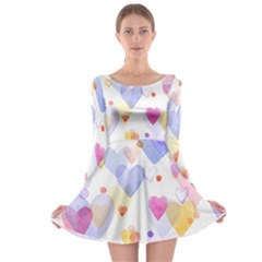 Watercolor cute hearts background Long Sleeve Skater Dress
