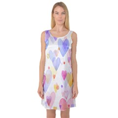 Watercolor cute hearts background Sleeveless Satin Nightdress