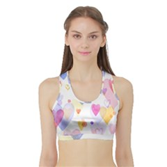 Watercolor cute hearts background Sports Bra with Border