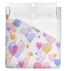 Watercolor cute hearts background Duvet Cover (Queen Size)