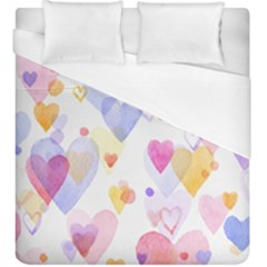 Watercolor cute hearts background Duvet Cover (King Size)