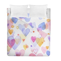Watercolor cute hearts background Duvet Cover Double Side (Full/ Double Size)