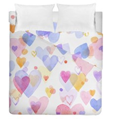 Watercolor cute hearts background Duvet Cover Double Side (Queen Size)