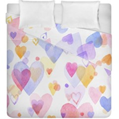 Watercolor cute hearts background Duvet Cover Double Side (King Size)