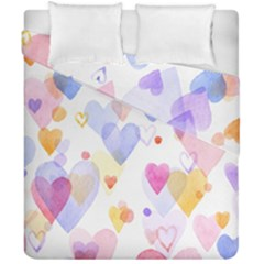 Watercolor cute hearts background Duvet Cover Double Side (California King Size)