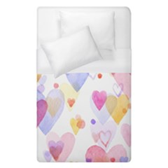 Watercolor cute hearts background Duvet Cover (Single Size)