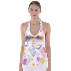 Watercolor cute hearts background Babydoll Tankini Top