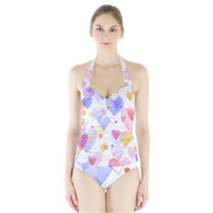 Watercolor cute hearts background Halter Swimsuit