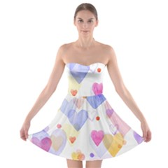 Watercolor cute hearts background Strapless Bra Top Dress