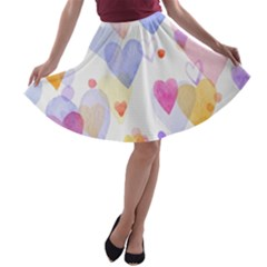 Watercolor cute hearts background A-line Skater Skirt
