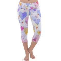 Watercolor cute hearts background Capri Yoga Leggings