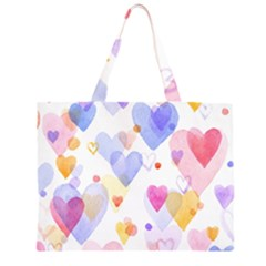 Watercolor cute hearts background Zipper Large Tote Bag